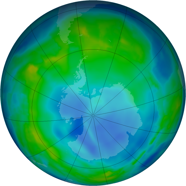 Antarctic ozone map for 05 June 2013